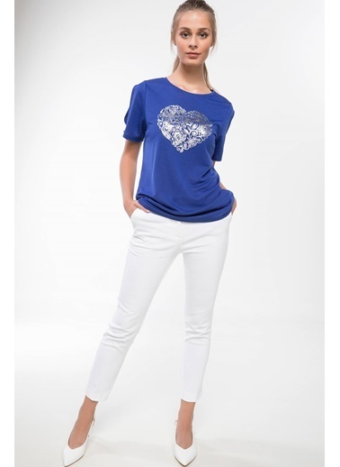 DeFacto Baskılı T-shirt Mavi